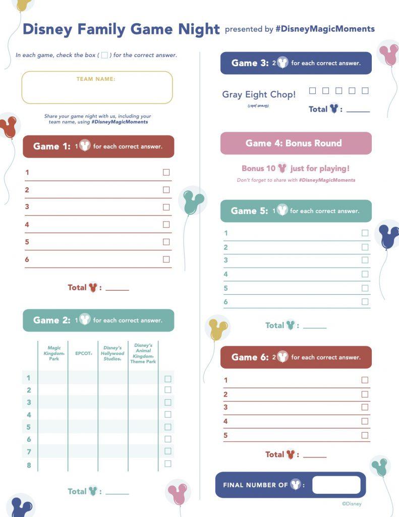 Disney Family Game Night Score Card