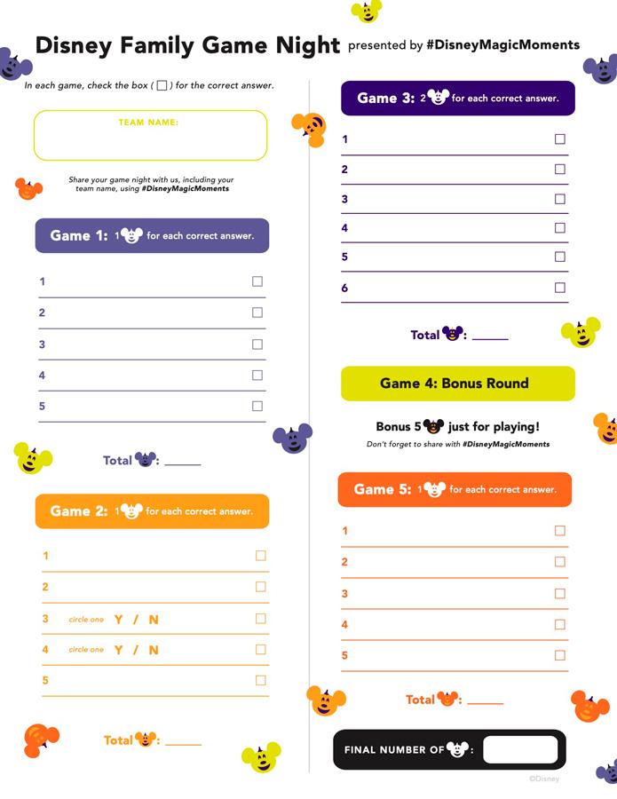 Disney Family Game Night spooky scorecard