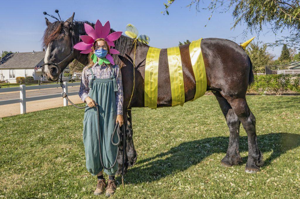 Gracie, a Percheron Draft Horse, and cast member Hanna Richter