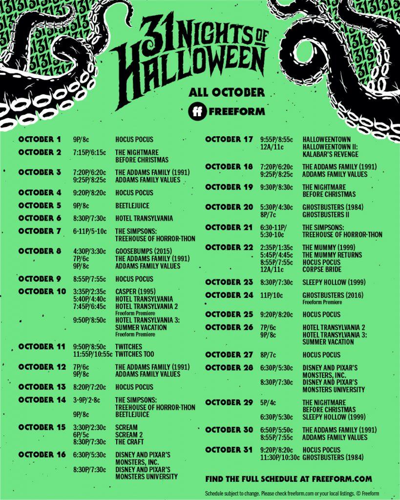 Freeform's '31 Nights of Halloween' schedule
