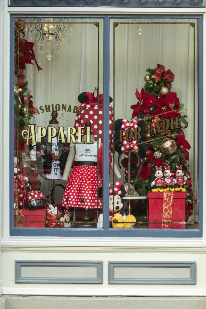Holiday window decorations at Magic Kingdom Park